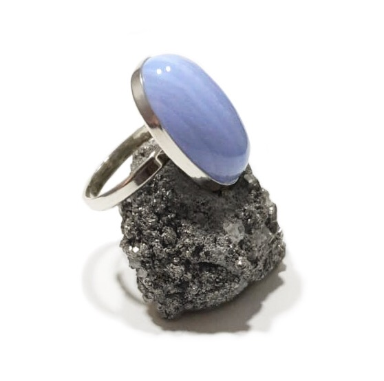 Silver Ring Rock crystal hyaline quartz natural stone